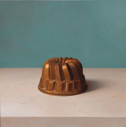 "Cake Mold, Saw, oil on Panel, 20"" x 20"""