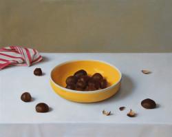 """Chestnut Bowl, Oil on Panel, 16 x20"""""""