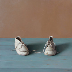 "Children's Shoes, Oil on Panel 16""x 16"" -SOLD"