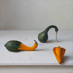 "Gourds, oil on Panel, 18"" x 18"""