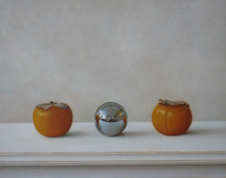 "'Persimmons and Ball-Bearing'- Oil on Panel, 11"" x 14"" -SOLD"