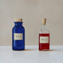 "'Two Bottles' - Oil on Panel, 8""x8"" SOLD"