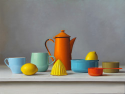"Orange teapot, oil on Panel, 18"" x 24"""