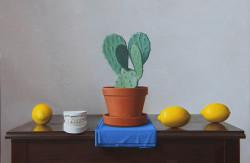 "Cactus and Lemons, Oil on Panel 24""x 16"""