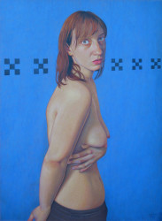 Girl on Blue Wall- SOLD